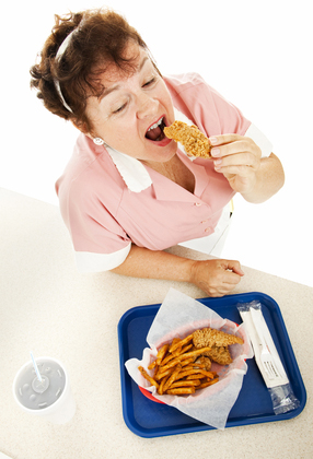Waitress Eating Fast Food