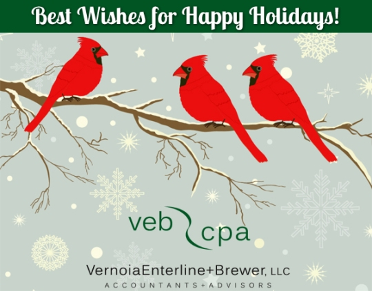 Best Wishes for Happy Holidays from VEB CPA Accountants + Adviso